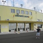 Me in front of the Arad airport building